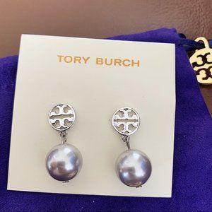 Tory Burch Silver Pendant Earrings